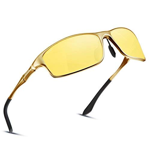 Soxick Night Driving Glasses, HD Vision Yellow Lens Polarized Anti Glare Fashion Sunglasses Men & Women