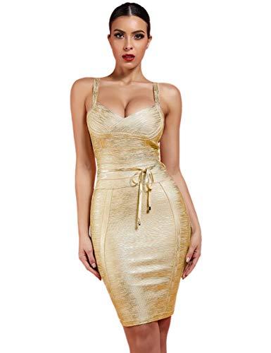 Whoinshop Women 's Spaghetti Strap Belt Detail Bandage Bodycon Foil Club Party Dress Gold L