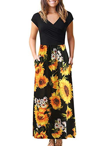 Women's Dresses with Pockets V Neck Floral Print Pleated Long Maxi Casual Midi Dress BK398 (M, Black Sun Floral)