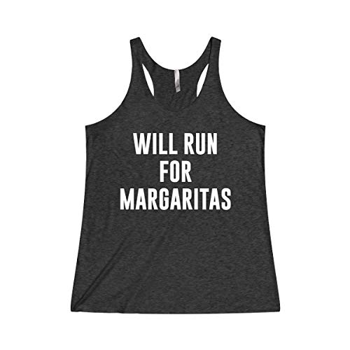 Women's Funny Running Workout Gym Tank Top T Shirt Apparel Will Run For Margaritas