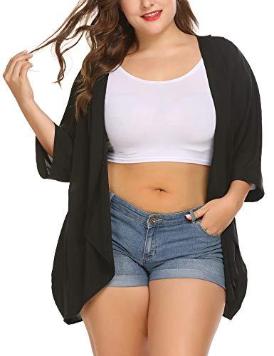 Womens Plus Size Kimono Cardigan Open Front Sheer Chiffon Sun Protection Cover Up Cardigans