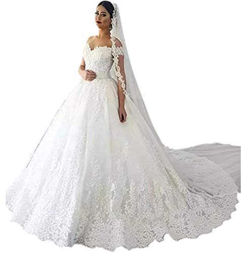 Andybridal High Low Organza Appliqued Lace Bridal Gowns Wedding Dresses For Girls