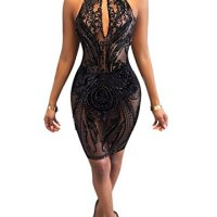 Acelyn Women's Sexy Halter Backless See Through Sequins Floral Club Bodycon Mini Dress Large Black
