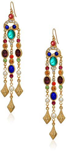 Ben-Amun Jewelry Victoria Gold Crystal Pearl Fish Hook Earrings