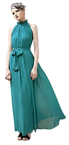 VSVO Women Halter Neck Sleeveless Chiffon Maxi Dresses (One Size, Lake Blue)