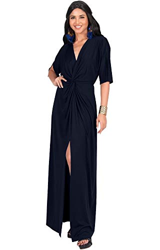KOH KOH Womens Long Sexy V-Neck Short Sleeve Cocktail Evening Bridesmaid Wedding Party Slimming Casual Summer Maxi Dress Dresses Gown Gowns, Navy Blue L 12-14