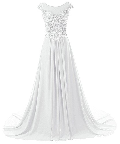 Prom Dresses Long Evening Gowns Lace Bridesmaid Dress Chiffon Prom Dress Cap Sleeve White US28