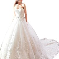 Sisjuly Beaded Lace Appliques Ball Gown Wedding Dress for Bride US12 White