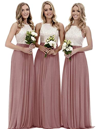 Women's A Line Top Lace Bodice Chiffon Bridesmaid Dress Long Formal Party Dress Dusty Rose Size 16