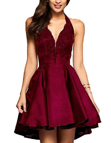 Yilis A-line Satin with Lace Applique Party Prom Dress Short Homecoming Dress (Burgundy,2)