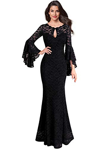 VFSHOW Womens Black Floral Lace Keyhole Front Ruffle Bell Sleeve Formal Evening Wedding Maxi Dress 2376 BLK S