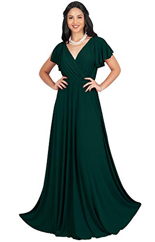 KOH KOH Womens Long V-Neck Sleeveless Flowy Prom Evening Wedding Party Guest Bridesmaid Bridal Formal Cocktail Summer Floor-Length Gown Gowns Maxi Dress Dresses, Emerald Green L 12-14