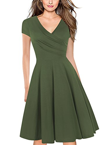 oxiuly Women's V-Neck Cap Sleeve Floral Casual Work Stretch Swing Dress OX233 (XL, Army Green)
