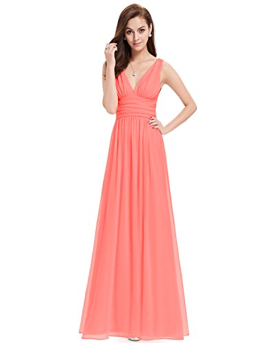 Ever-Pretty Womens Double V Neck Sleeveless Chiffon Bridesmaids Dress 6 US Coral