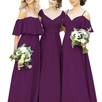 Yilisclothing Women's Cold Shoulder A-line Long Chiffon Bridesmaid Dress Ruffles Formal Evening Prom Dress Plum-C US4