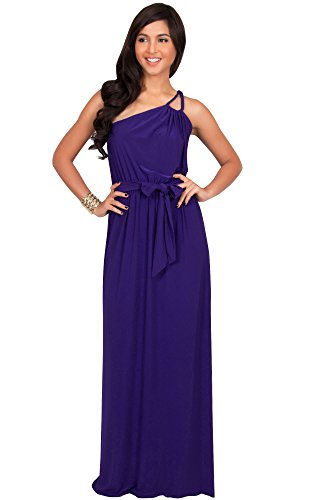 KOH KOH Plus Size Womens Long Sleeveless One Shoulder Cocktail Evening Formal Bridesmaid Bridal Wedding Party Summer Sexy Cute Maternity Gown Gowns Maxi Dress Dresses, Indigo Blue Purple XL 14-16