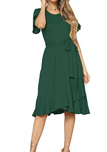 Women Casual Flowy Ruffle Knee Midi Length Work Dress Green L