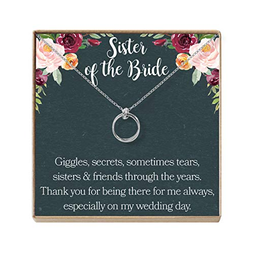 Dear Ava Sister of The Bride Gift Necklace: Sister Wedding Gift, Best Friend, Bridesmaid, 2 Linked Circles (Silver-Plated-Brass, NA)