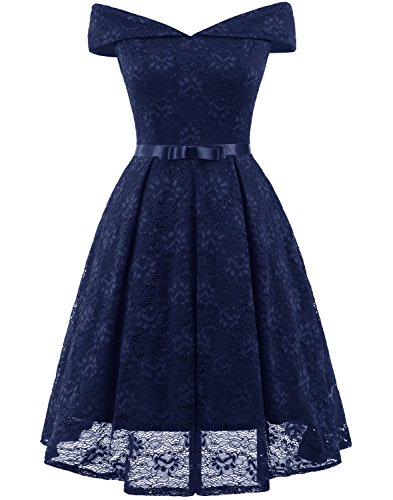Tecrio Women's Lace Off Shoulder Evening Party Prom Swing Dress Small Dark Blue