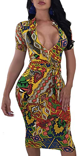 Women's Floral Sexy Midi Juniors Dresses Casual Bodycon Short Sleeve Club Outfits