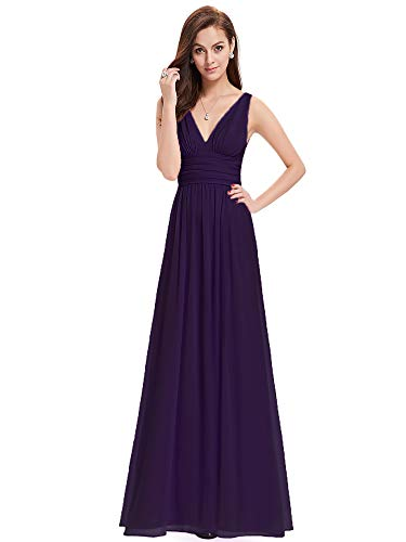 Ever-Pretty Womens Elegant Empire Waist Double V Neck Maxi Dress 4 US Purple
