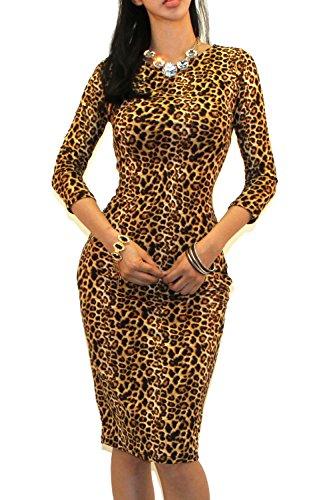 Vivicastle Women's Wear to Work Business 3/4 SLV Bodycon Pencil Dress (Medium, AW1, Animal)
