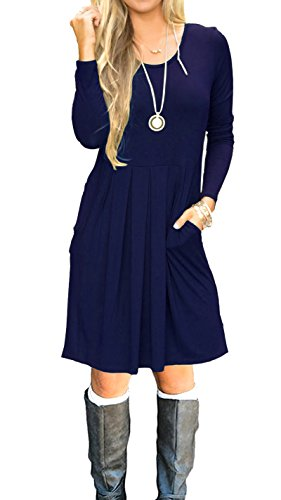 AUSELILY Women's Long Sleeve Pleated Loose Swing Casual Dress with Pockets Knee Length (S, Navy Blue)
