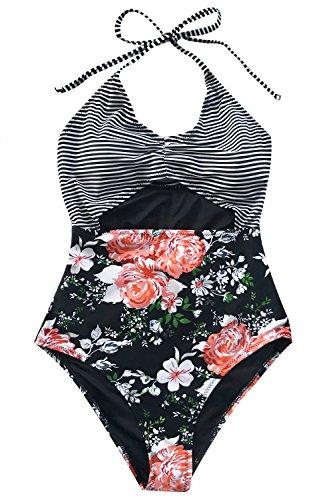 CUPSHE Women's Secret Fragrance Print Halter One-Piece Swimsuit Beach Swimwear X-Large