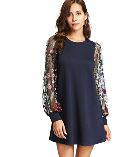 DIDK Round Neck Floral Embroidered Mesh Sleeve Pullover Tunic Dress Navy S