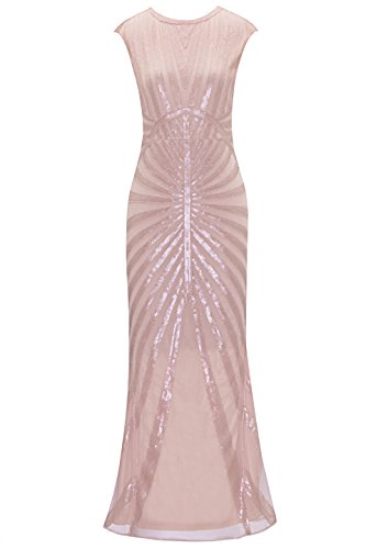 Metme Women's Evening Dress 1920s Sequin Mermaid Gatsby Formal Long Flapper Gown Party Pink