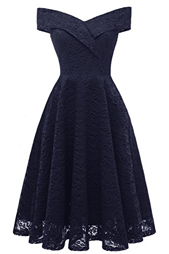 MILANO BRIDE Cocktail Dress for Women Vintage Lace Off-The-Shoulder Homecoming Swing Dress for Juniors-XXL-Navy Blue