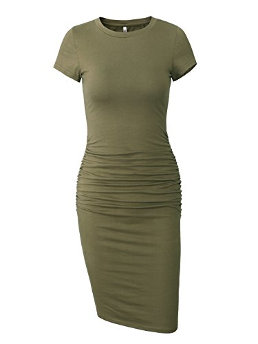Missufe Women's Ruched Casual Sundress Midi Bodycon Sheath Dress (Army Green, Small)