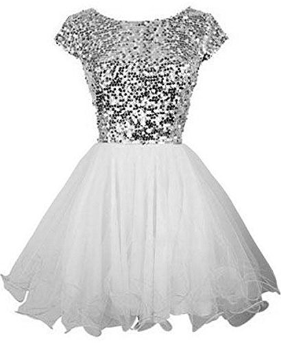 Sarahbridal Juniors Short Homecoming Dresses 2020 Sequin Prom Cocktail Gowns White US6