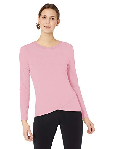 Amazon Essentials Women's Studio Long-Sleeve Lightweight Cross-Front T-Shirt, -pink, Large