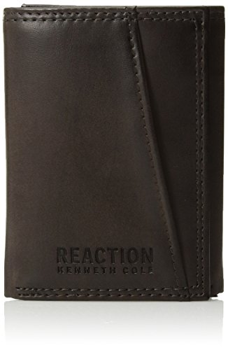 Kenneth Cole Reaction Men's Wallet – RFID Blocking Security Genuine Leather Slim Trifold with ID Window and Card Slots,Brown Slim