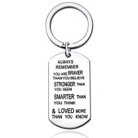 Stainless Steel Key Chain Ring You Are Braver Stronger Smarter Than You Think Pendant Family Friend Gift (Stainless Steel)
