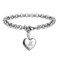 Initial Charm Bracelets Stainless Steel Heart 26 Letters Alphabet Bracelet for Women Valentine's Day Gifts