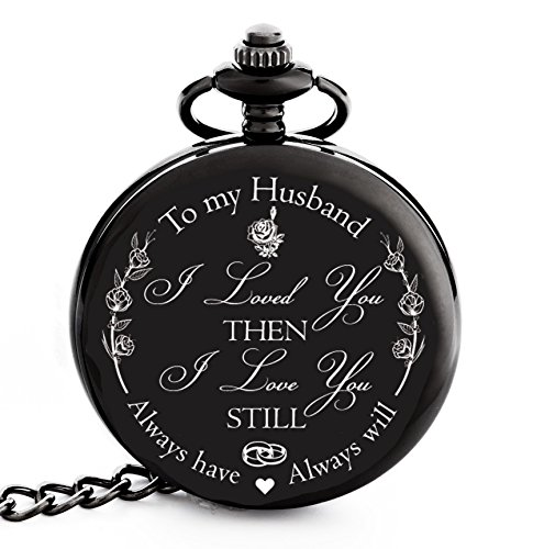 "Valentines Gift for Husband | Anniversary Gifts for Men | Engraved ""To my Husband"" Pocket Watch – Gift for Husband from Wife for Birthday / Happy Anniversary!"
