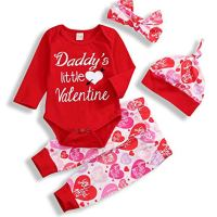 My First Valentine's Day Outfit Set Baby Girls Boy Cute Romper (Red, 12-18 Months)