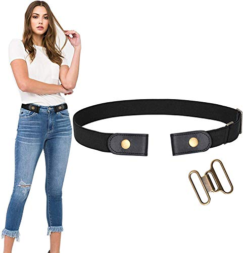 No Buckle Stretch Belt For Women Men Elastic Waist Belt Up to 72 Inch for Jeans Pants,Black,Pants Size 32-50 Inches