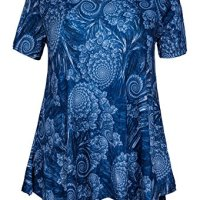 ZERDOCEAN Women Plus Size Printed Short Sleeves Tunic Tops Flowy T Shirt Style-810 1X