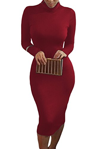 Pink Queen Womens Turtleneck Long Sleeve Knee Length Bodycon Midi Dress L Dark Red