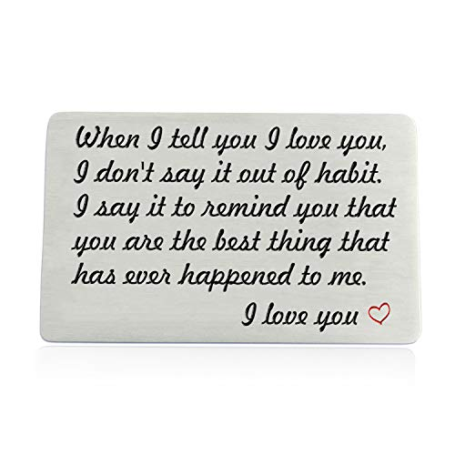Engraved Wallet Card Insert Anniversary Gifts for Men Women, Boyfriend Husband Gift Idea for Him, Birthday Wedding Valentine's Day Deployment Gift for Couples