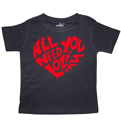 inktastic All You Need is Love Red Heart Shape Toddler T-Shirt 5/6 Black