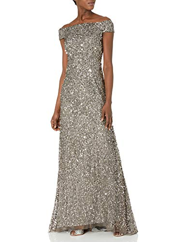 Adrianna Papell Women's Off The Shoulder Beaded Long Gown, Lead, 6