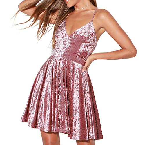 R.Vivimos Women's Crushed Velvet Spaghetti Straps Sexy V Neck Club Party Pleated Swing Skater Dress (Medium, Pink)
