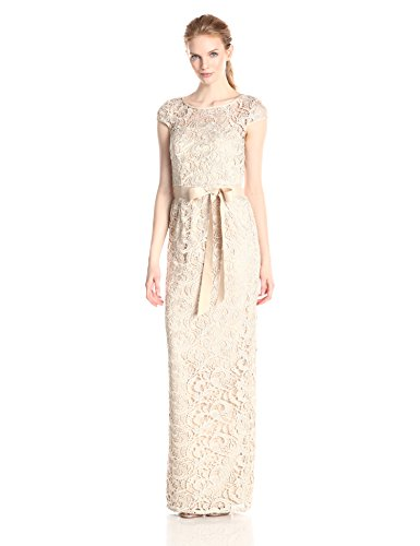 Adrianna Papell Women's Cap-Sleeve Lace Column Gown with Illusion Neckline and Ribbon Belt, Champagne, 4