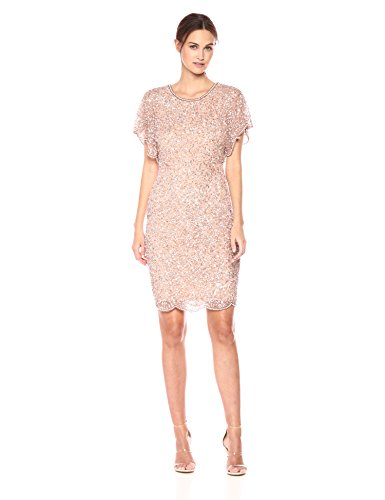 Adrianna Papell Women's Fully Beaded Cocktail Dress with Flutter Sleeves, Rosegold, 12