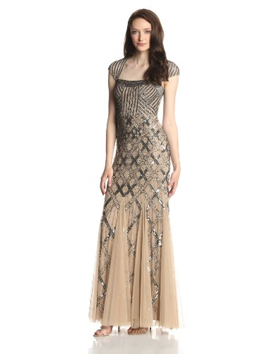 Adrianna Papell Women's Long Beaded Square Neck Dress With Cap Sleeves, Nude, 10