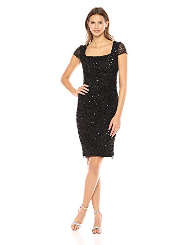 Adrianna Papell Womens Plus Sequined Sheath Cocktail Dress Black 24W